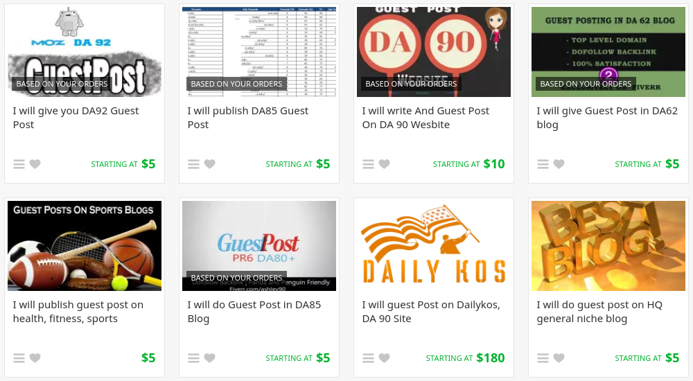 Fiverr guest post gigs